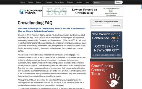 Screenshot of FAQ Page crowdfundinsider.com - Crowdfunding FAQ - Crowdfund Insider - captured July 18, 2016