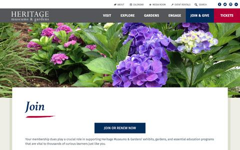 Screenshot of Signup Page heritagemuseumsandgardens.org - Join - Become a Member - Heritage Museums & Gardens - captured Sept. 28, 2018
