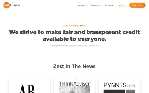 Screenshot of Press Page zestfinance.com - The Latest Press and News | ZestFinance - captured Oct. 8, 2018