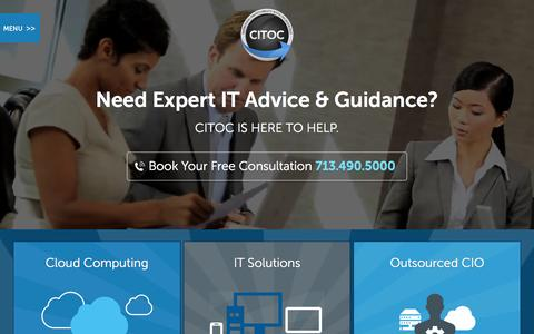 Screenshot of Home Page citoc.com - Houston IT Support | Houston IT Consulting | 713.490.5000 CITOC - captured June 18, 2015