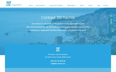 Screenshot of Contact Page 212-yachts.com - Contact: 212 Yachts, Yacht Charters - captured Dec. 14, 2016