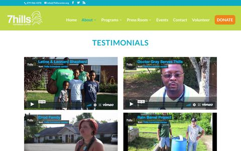 Screenshot of Testimonials Page 7hillscenter.org - Testimonials - Seven Hills Homeless Center - captured Oct. 18, 2017