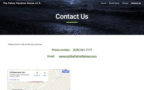Screenshot of Contact Page google.com - The Palms Vacation House on Saint George Island - by owners - Contact Us - captured April 28, 2017