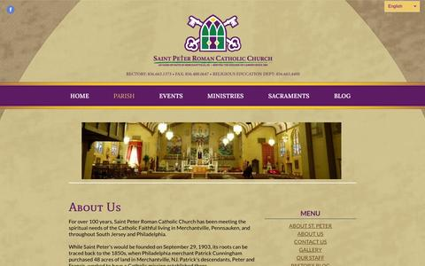 Screenshot of About Page saintpetermerchantville.com - About Us - St. Peter Roman Catholic Church - captured June 19, 2016