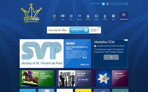 Screenshot of Home Page radiokerry.ie - Radio Kerry | 96-98FM | Your Voice in The Kingdom - captured Sept. 19, 2014