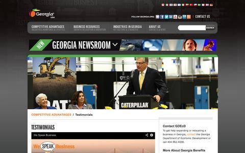 Screenshot of Testimonials Page georgia.org - Testimonials - Georgia Department of Economic Development - captured Sept. 19, 2014