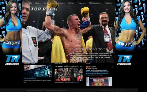 Screenshot of Home Page toprank.com - Top Rank Boxing - captured Sept. 19, 2014