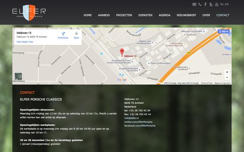 Screenshot of Contact Page elfer.nl - Contact - Elfer Porsche Classics - captured Jan. 27, 2016