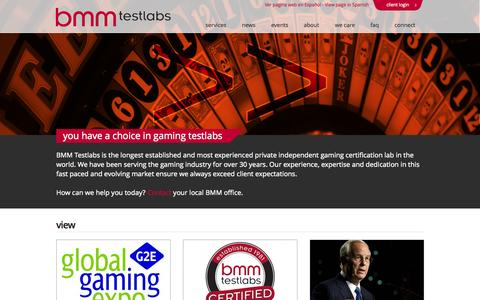 Screenshot of Home Page bmm.com - bmm testlabs | you have a choice in gaming testlabs - captured Oct. 4, 2014