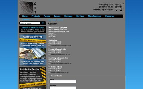 Screenshot of Contact Page mpcservices.co.uk - Contact -  - MPC Services (UK) Ltd - captured Oct. 4, 2014