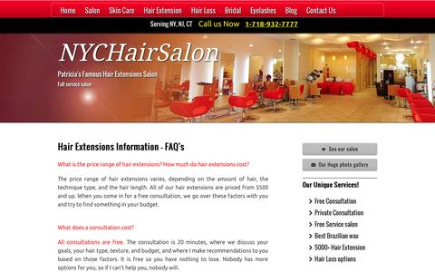 Screenshot of FAQ Page nychairsalon.com - Hair Extensions Information Hair Extension Prices - Cost - captured Oct. 2, 2014
