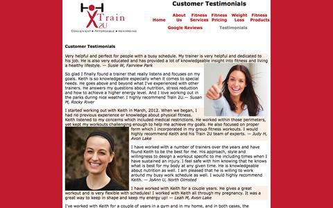 Screenshot of Testimonials Page train2u.com - Hire a Fitness Professional | info@train2u.com | Train 2U LLC - captured Dec. 2, 2016