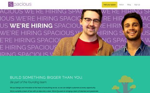 Screenshot of Jobs Page spaciousapp.com - Spacious | Join us - captured Sept. 19, 2014