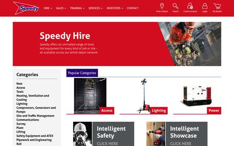 Screenshot of Products Page speedyservices.com - Hire Tools and Equipment | Speedy Services - captured Sept. 20, 2018
