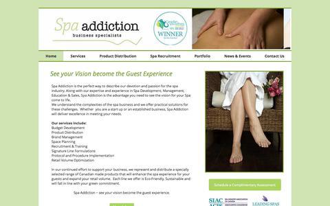 Screenshot of Home Page spaaddictionbiz.com - Spa Addiction Business Specialists - captured Oct. 23, 2017