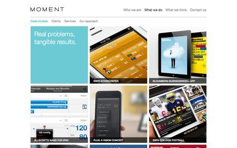Screenshot of Case Studies Page momentdesign.com - Case Studies | Moment - captured Oct. 26, 2014