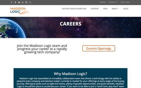 Screenshot of Jobs Page madisonlogic.com - Careers – Madison Logic - captured July 13, 2016