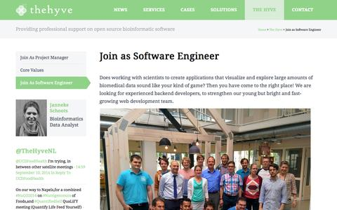 Screenshot of Signup Page thehyve.nl - The Hyve – Open source solutions for bioinformatics Join as Software Engineer - The Hyve - Open source solutions for bioinformatics - captured Oct. 8, 2014