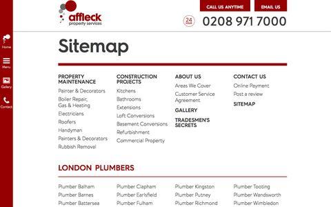 Screenshot of Site Map Page affleckservices.co.uk - Sitemap   Affleck Property Services   London - captured Nov. 2, 2014