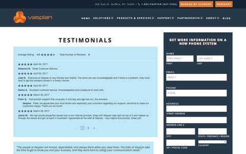 Screenshot of Testimonials Page vaspian.com - VoIP Phone Service Testimonials | Vaspian - captured Nov. 11, 2017