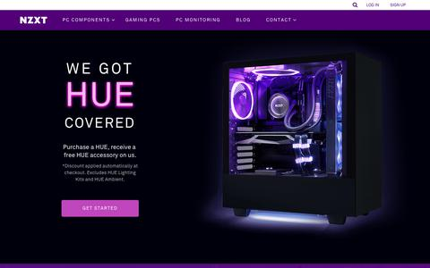 Screenshot of Home Page nzxt.com - NZXT | Gaming PC Hardware - Computer Cases, Liquid Cooling, Fan Control and PC Monitoring - captured April 27, 2019