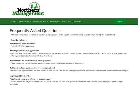 Screenshot of FAQ Page wisconsinapartments.biz - Frequently Asked Questions - Northern Management, LLC - captured Oct. 18, 2018
