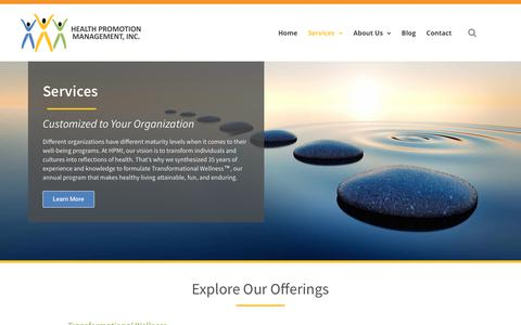 Screenshot of Services Page hpmi.us - Services – HPMI - captured Sept. 27, 2018