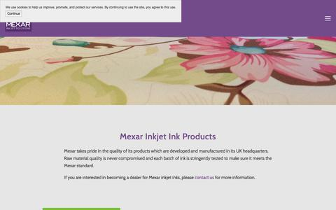 Screenshot of Products Page mexar.co.uk - Products — Mexar - industrial inkjet ink solutions - captured Oct. 18, 2017