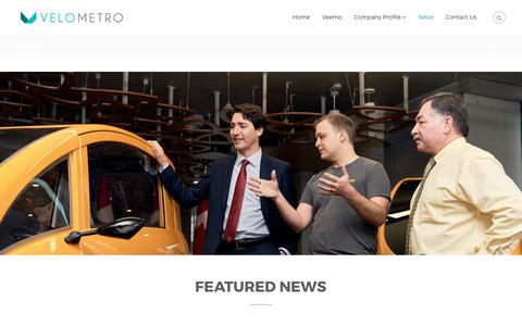 Screenshot of Press Page velometro.com - News - VeloMetro Mobility - captured Nov. 4, 2017