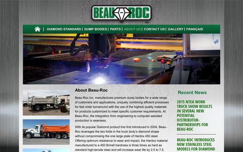 Screenshot of About Page beauroc.com - About Beau-Roc – The Diamond Standard In Dump Body Manufacturing | Beau Roc Steel Dump Bodies - captured Jan. 28, 2016