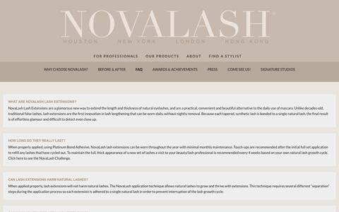 Screenshot of FAQ Page novalash.com - Frequently Asked Questions by our Customers - NovaLash - captured Aug. 27, 2016