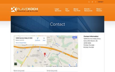 Screenshot of Contact Page plavekoch.com - PlaveKoch |  Contact - captured Nov. 2, 2014