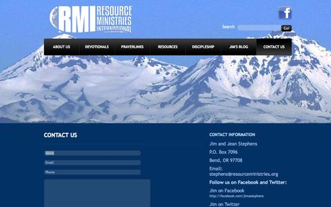 Screenshot of Contact Page resourceministries.org - Contact Us - captured Oct. 8, 2014