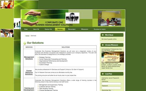 Screenshot of Services Page corporateonebms.com - Our Solutions - captured Oct. 22, 2014