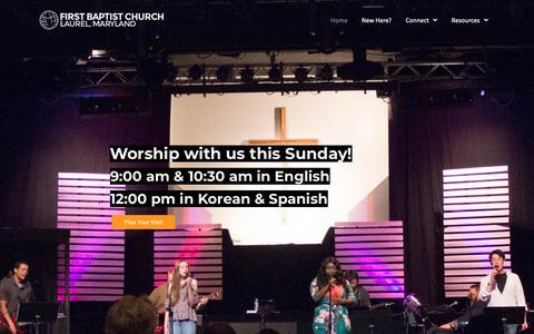 Screenshot of Home Page fbclaurel.com - First Baptist Church of Laurel | Loving God, Loving Neighbors, Loving the Nations - captured Oct. 10, 2018