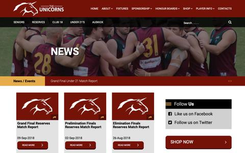 Screenshot of Press Page mhsobfc.com.au - News Archives - Melbourne High School Old Boys' Football Club - captured Oct. 17, 2018