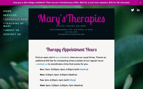 Screenshot of Hours Page marystherapies.com - Hours — Mary'sTherapies - captured Oct. 29, 2014