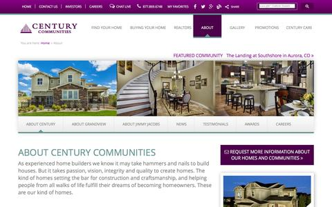 Screenshot of About Page centurycommunities.com - About Century Communities | New Construction Home Builders - captured Jan. 27, 2016