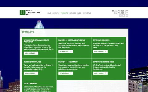 Screenshot of Products Page warcoconstruction.com - Warco Construction Inc. : Products - captured Sept. 30, 2014
