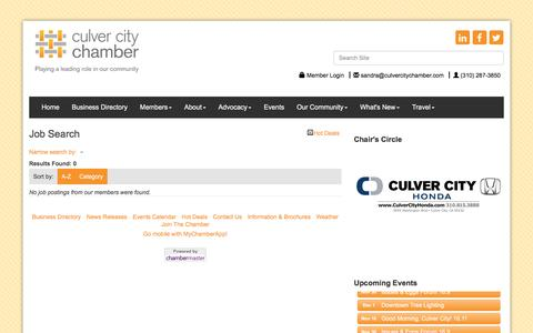 Screenshot of Jobs Page culvercitychamber.com - Job Search - Culver City Chamber of Commerce, CA - captured Nov. 14, 2016