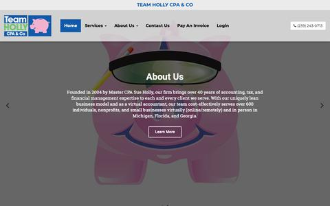 Screenshot of Home Page teamhollycpa.com - Team Holly CPA & Co. | Accounting Services Saginaw MI - captured Oct. 19, 2018