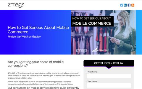 Screenshot of Landing Page zmags.com - Zmags | Mobile Commerce Webinar - captured March 27, 2018