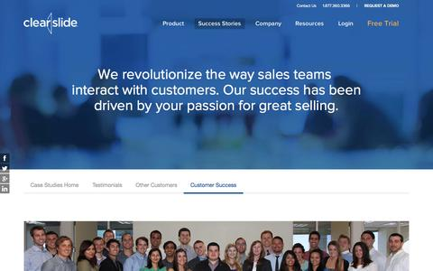 Screenshot of Support Page clearslide.com - ClearSlide Customer Success - captured Nov. 3, 2015