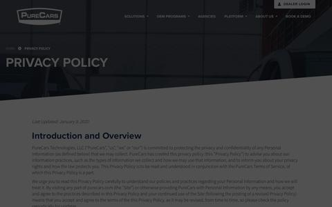 Screenshot of Privacy Page purecars.com - Privacy Policy | PureCars - captured Jan. 18, 2020