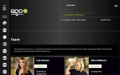 Screenshot of Team Page egofm.de - Team - egoFM - das Radio für Musikentdecker - captured Sept. 28, 2018
