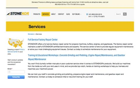 Screenshot of Services Page stonekor.com - STONEKOR Full Service Repair For Propane Equipment - captured Sept. 30, 2014