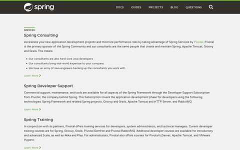 Screenshot of Services Page spring.io - Services - captured July 20, 2014