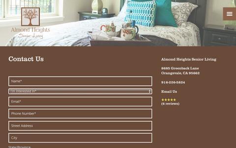 Screenshot of Contact Page milestoneretirement.com - Contact Us | Almond Heights Senior Living - captured Jan. 25, 2017