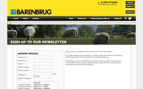 Screenshot of Signup Page barenbrug.co.uk - Barenbrug - Register - captured Sept. 30, 2014