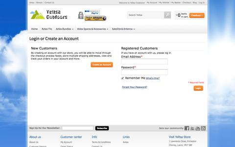 Screenshot of Login Page yeltsa.com - Customer Login - captured Oct. 27, 2014